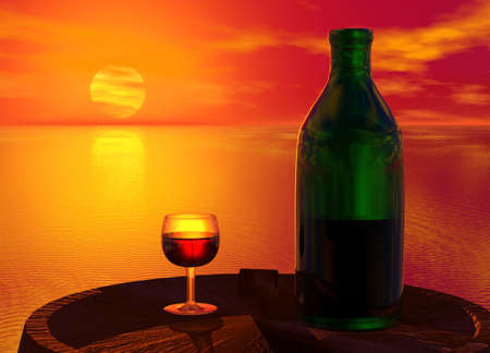 Green Bottle and Glass of Wine on Barrel Keg Stock Photo - 3846726