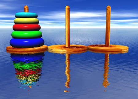 Tower of Hanoi Toy Puzzle Old Chinese Game