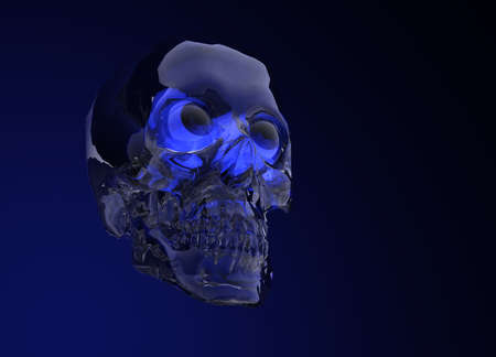 Blue Glass Crystal Human Skull on Black