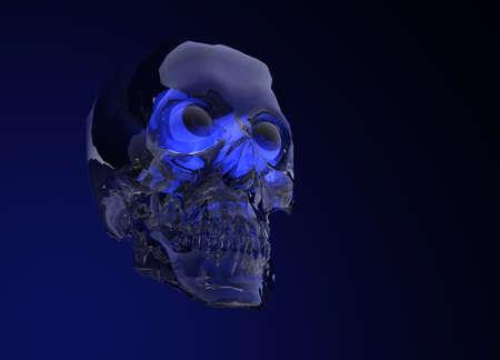 Blue Glass Crystal Human Skull on Black
