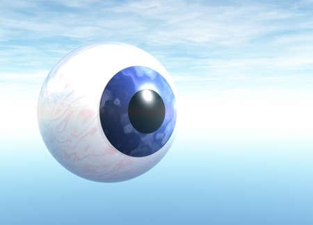 Blue Eyeball Floating on Blue Sky Stock Photo - 4036113