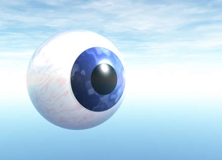 Blue Eyeball Floating on Blue Sky Stock Photo - 4036113