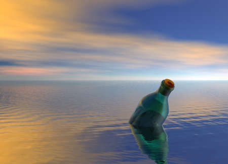 Message in a Green Bottle Floating on Ocean photo