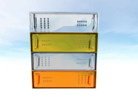 Gold Silver Bronze Glass Diamond Server Rack Hosting on White photo