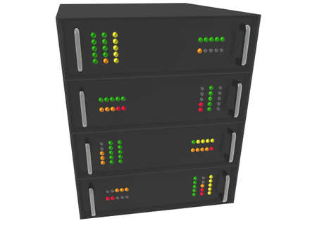 Small Web Hosting Server Rack on white Stock Photo