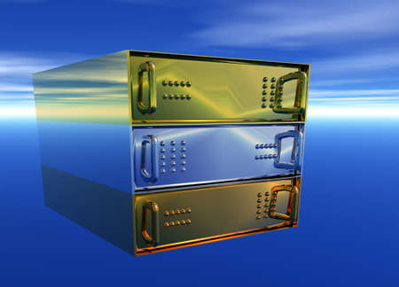 Gold Silver Bronze Server Rack Hosting on Blue Sky photo