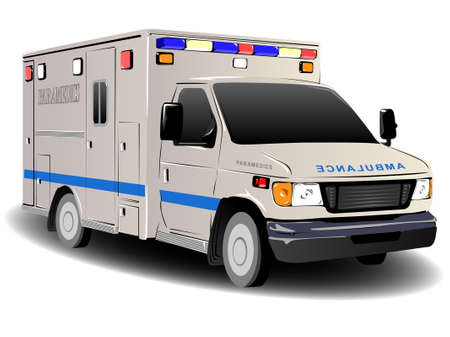 emergency response: Modern Ambulance Illustration over White