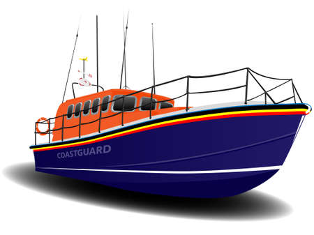 coastguard: Orange and Blue Coastguard Lifeboat Illustration over White