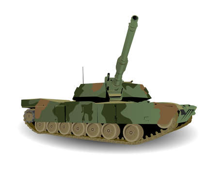 disguised: Green Army Tank Over White