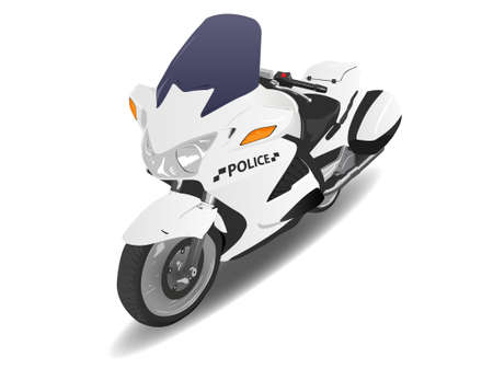 a white police motorcycle: Police Motorcycle Motor Bike over White