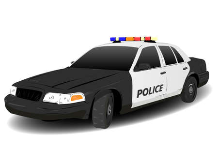 Black and White Police Squad Car Illustration over white