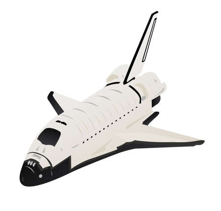 Space Shuttle 3d View over White Stock Photo