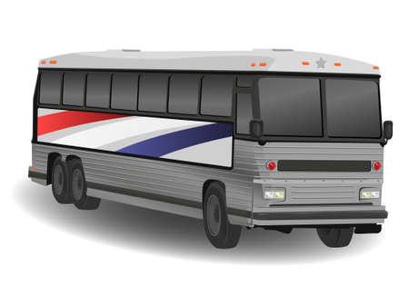 camion caricatura: Ilustraci�n Americana de autobuses Greyhound en Blanco
