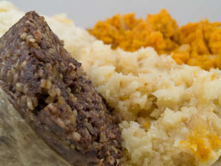 chitterlings: Haggis and Mash on white Stock Photo