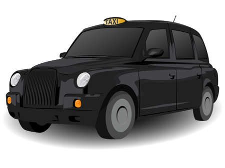 employ: Black London Hackney Carriage Illustration on White