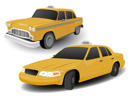 taxi: Tradicional y moderna Nueva York Taxi Ilustraciones