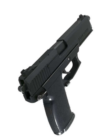 Black Pistol Handgun Over White photo