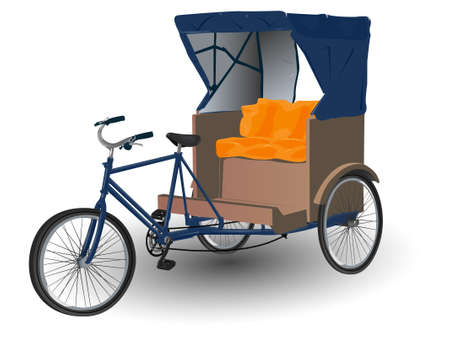 Rickshaw Pulled by Bicycle Illustration