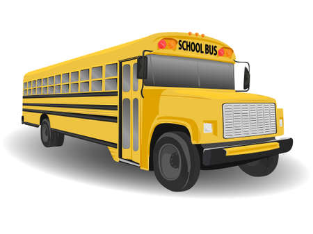 Traditional American School Bus Illustration on White illustration