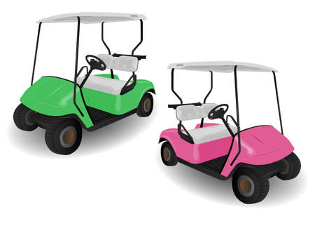 Two Golf Cart Buggies Illustrations on White