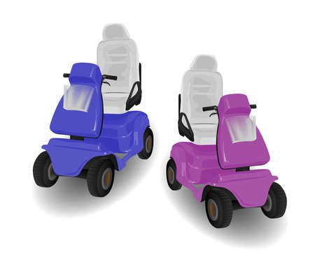 Two Mobility Scooter Illustrations Pink and Blue on White illustration