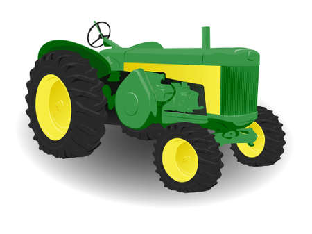 Green and Yellow Tractor with Big Tyres Illustration on White