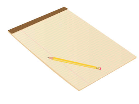 Vector Brown Blank Lined Notepad with Pencil photo