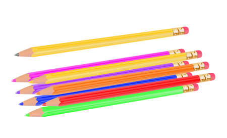 Vector Collection of Rainbow Coloured and Plain Pencils photo