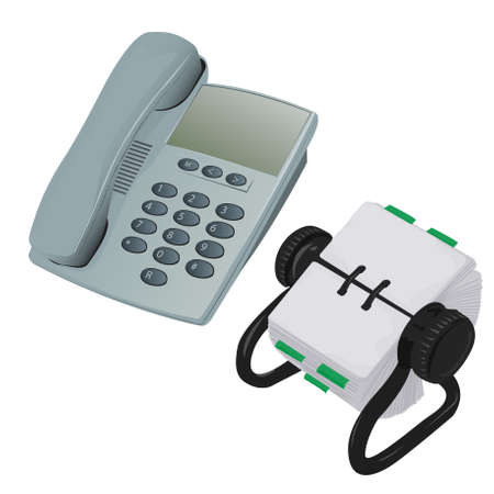 Modern Desk Phone and Organiser Vector