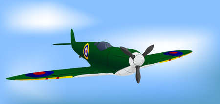 World war 2: British Green RAF WW2 Spitfire Illustration