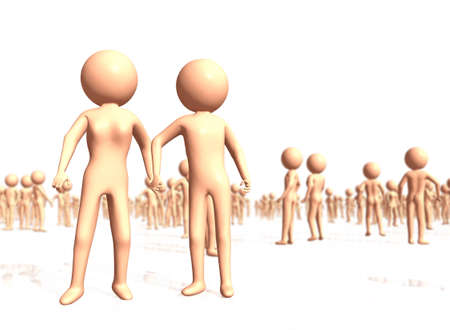 asexual: Abstract Couple Holding Hands among Random Standing Crowd - Selective DOF Stock Photo