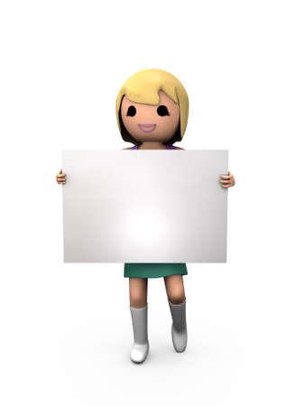 3D blonde Frau Holding Blank Card-Sign schattiert Underground Standard-Bild