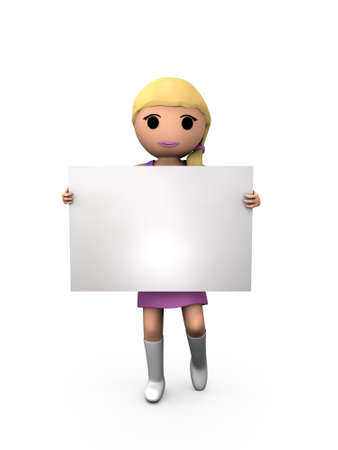 3D Blonde Girl Holding Blank Card Sign Shaded Copyspace photo