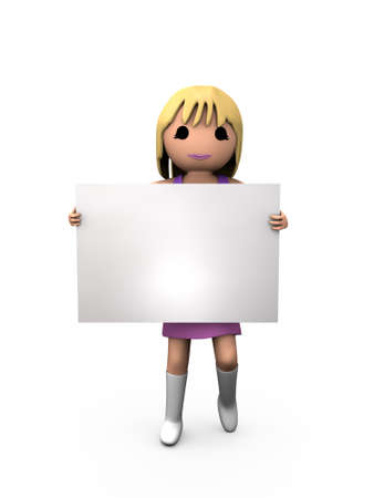 3D Blonde Woman Holding Blank Paper Shaded Copyspace photo