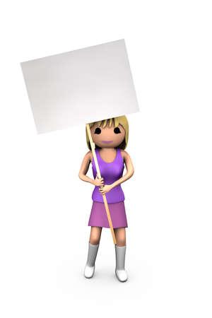 Junge weiße 3D Blonde Girl Holding Blank Protest anmelden Standard-Bild