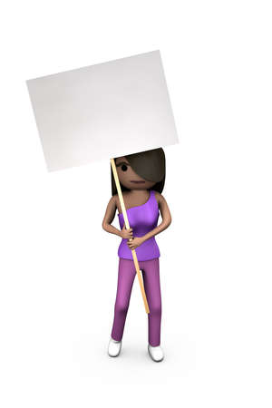 Black Modern 3D Woman Holding Protest Placard Shaded Copyspace photo