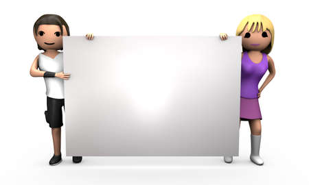Young Professional 3D Couple Holding Large Blank Business Card