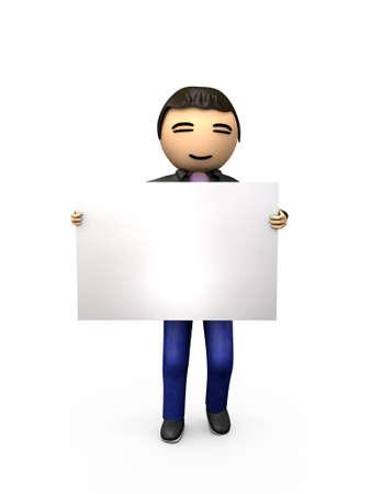 Oriental asiatischen 3D Guy Holding Blank Sign schattiert Underground
