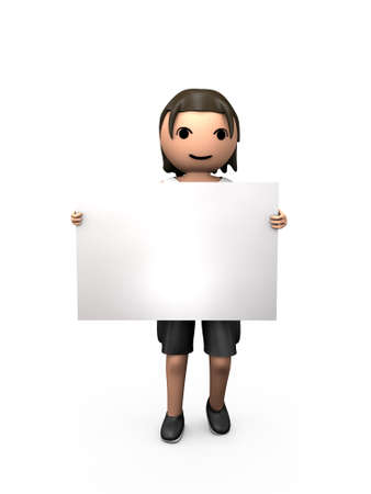 3D Young Male Holding Large Blank Visitenkarten