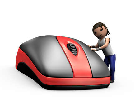 clicking: 3d Render of Young Guy Clicking PC Mouse