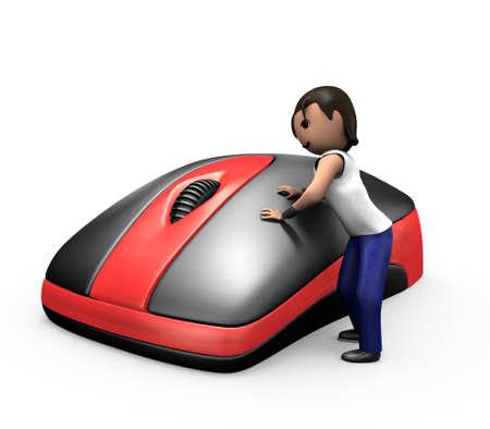 3D Render of Young Guy durch Klicken auf PC Maus Standard-Bild