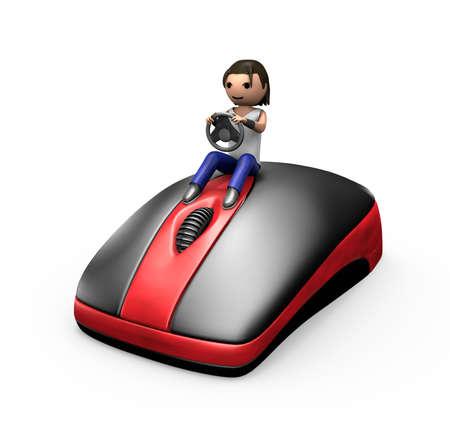 3D junge Mann ein PC-Maus wie ein Auto fahren