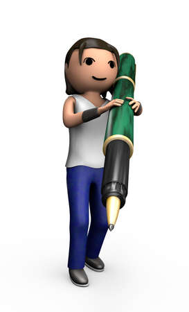 Young 3d Male with Ballpoint Pen Carrying Pen on Shoulder Stock Photo