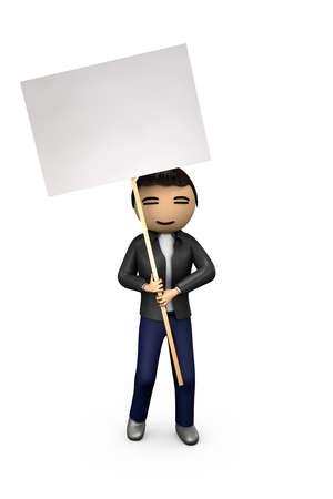 Oriental asiatischen 3D Guy Holding Blank Protest Placard