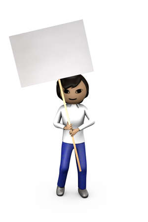 Middle-Eastern Asian 3D Character Holding Blank Shaded Placard photo