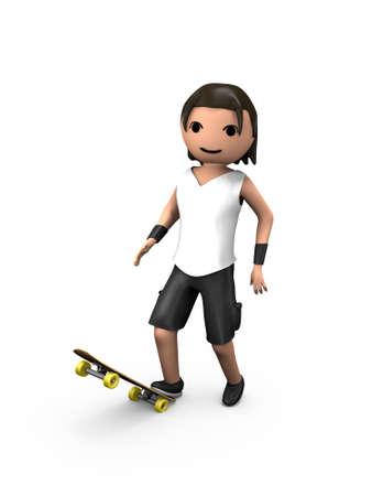 Junge weiße 3D Guy auf Skateboard Blick auf Viewer