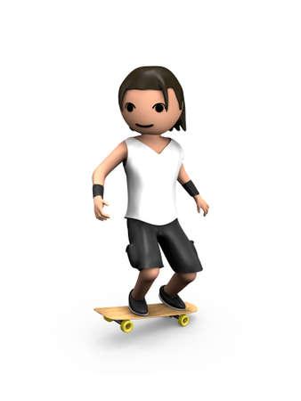 Moderne 3D Man durchführen Trick auf Wooden Skateboard