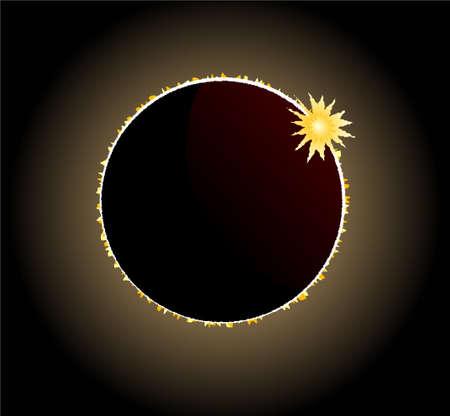 totales: Eclipse Total de Sol con efecto anillo de diamante que brilla intensamente en la esquina superior derecha Vectores