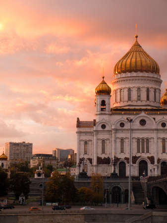 Orthodox Church of Christ the Redeemer at Dusk in Moscow Russia Stock Photo - 13704440