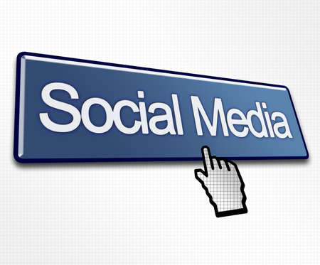 Large Blue Social Media Button with Hand Cursor Click